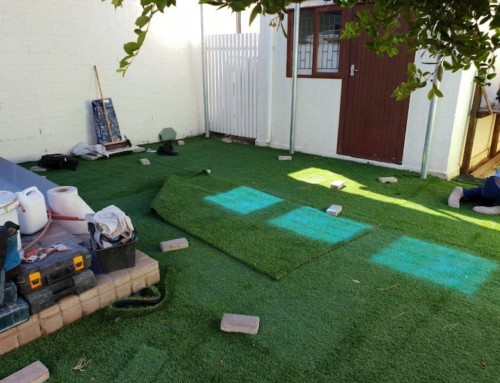 Artificial grass turf installation progress