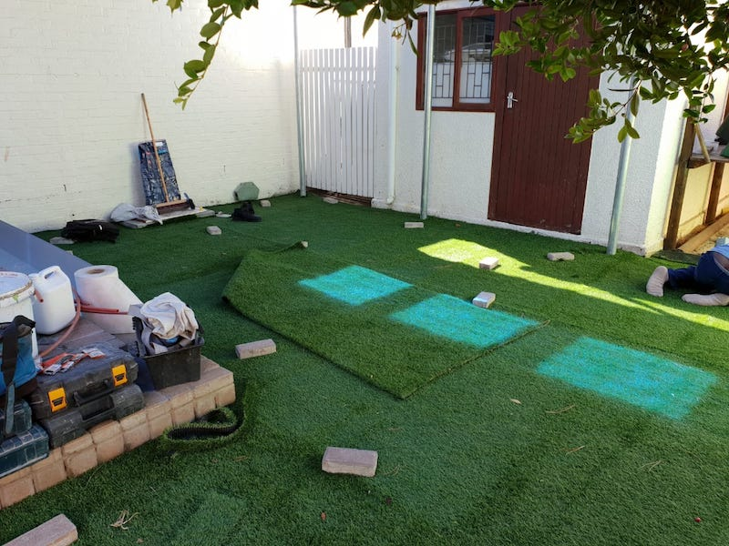 artificial grass installation at school in Cape Town 3