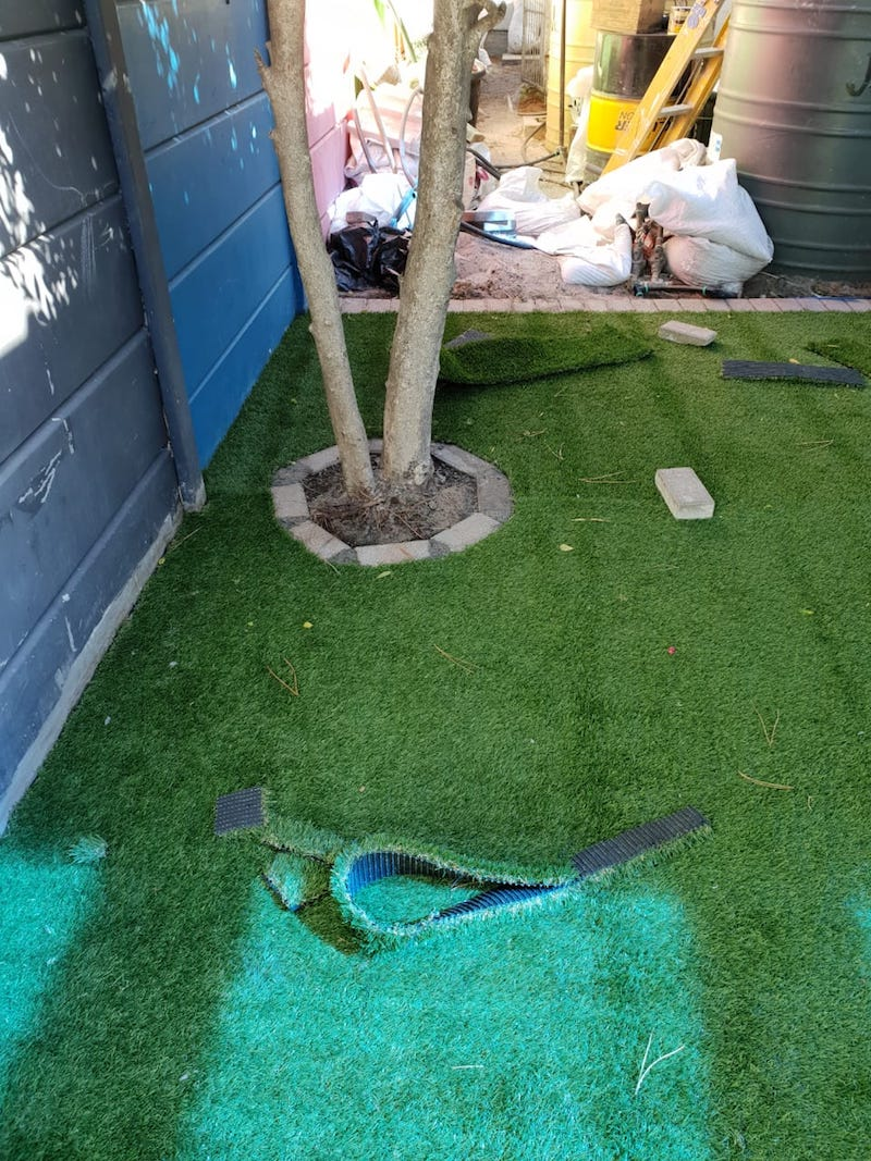 artificial grass installation at school in Cape Town