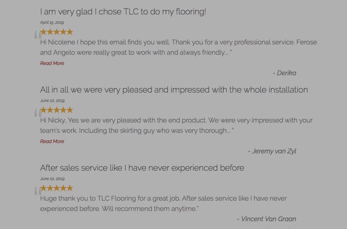 TLC Flooring Company Reviews