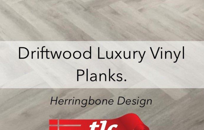 Driftwood Luxury Vinyl planks in a Herringbone design - tlc flooring 1
