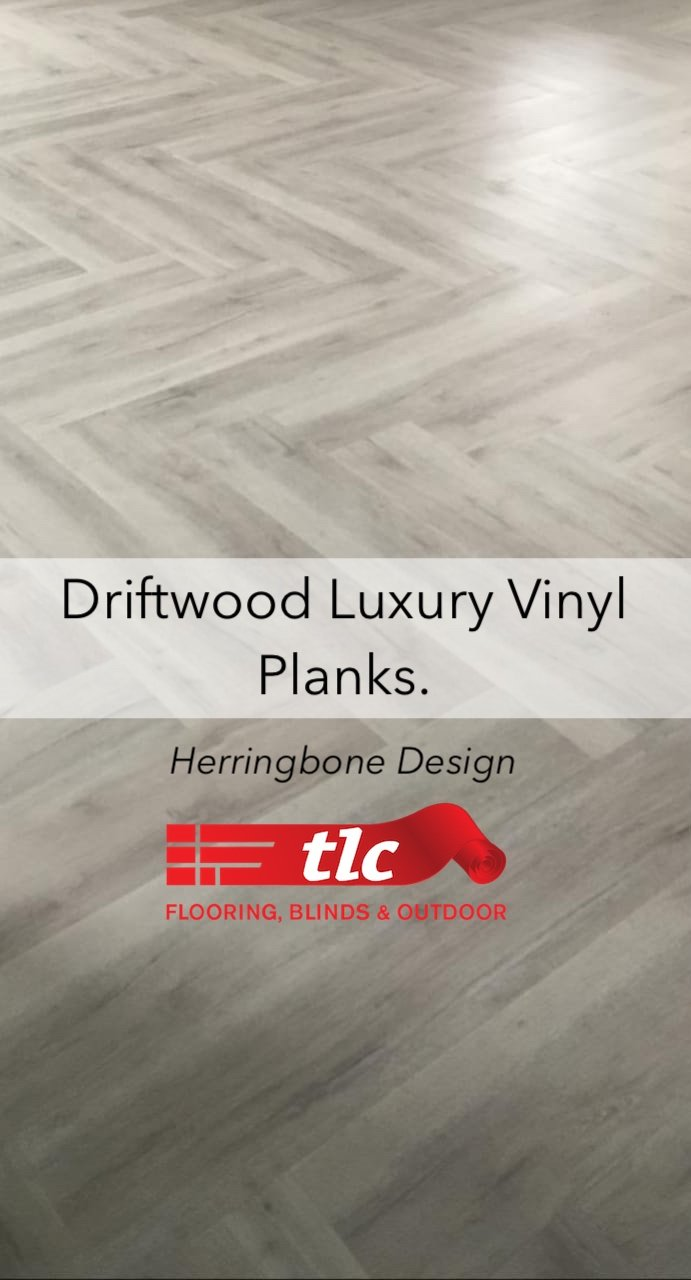 Driftwood Luxury Vinyl planks in a Herringbone design - tlc flooring 1