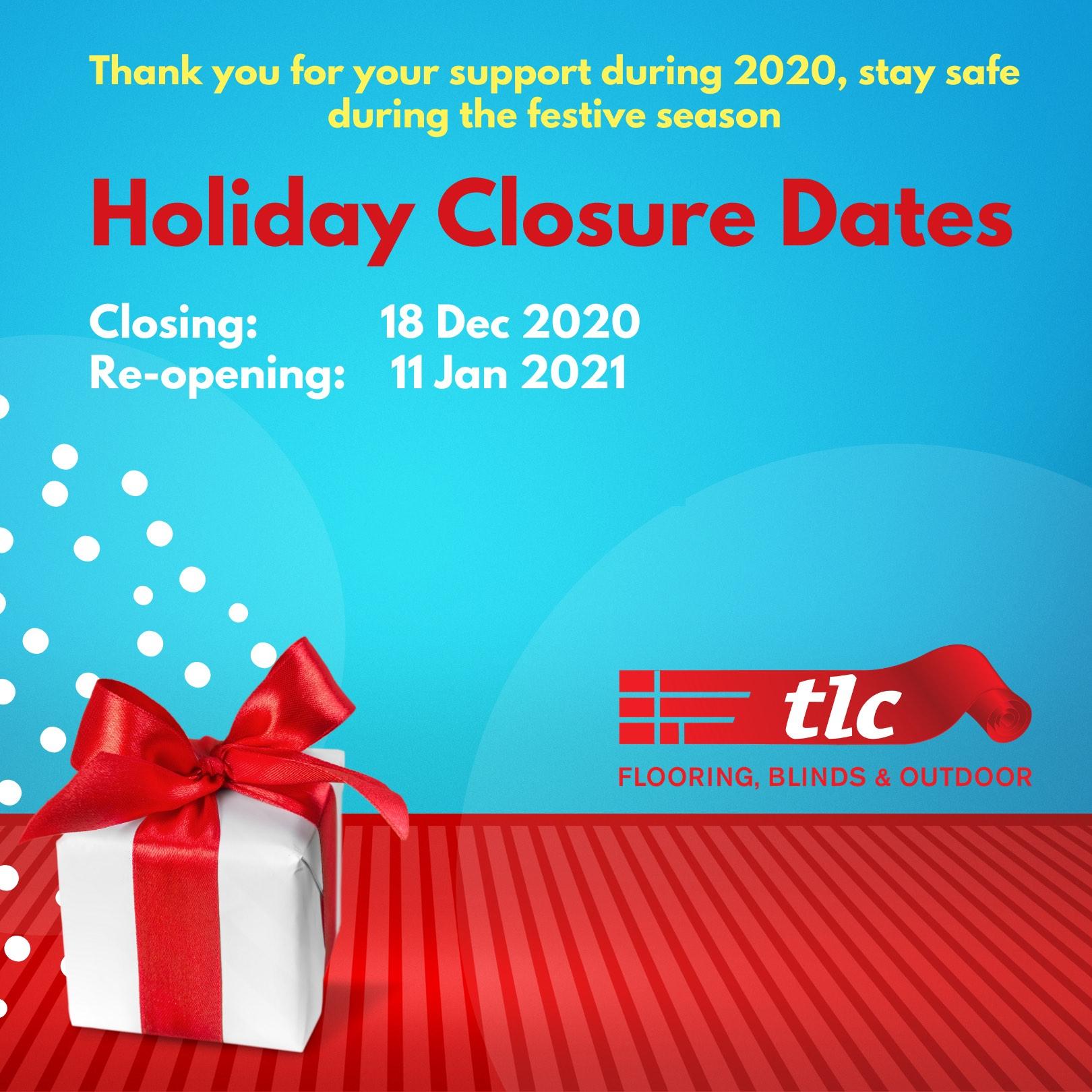 tlc flooring - december holiday closure dates
