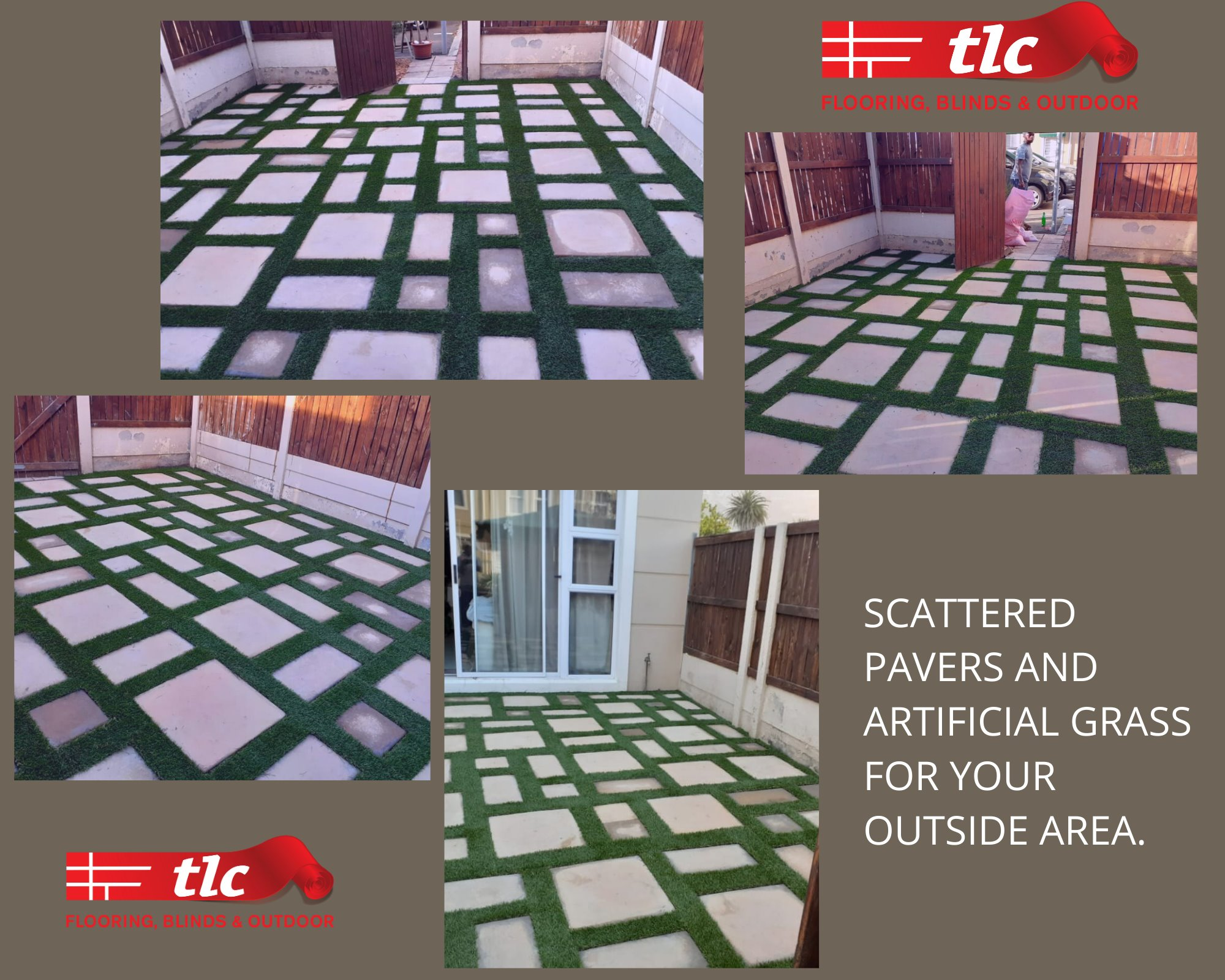 Scattered Pavers and Artificial Grass